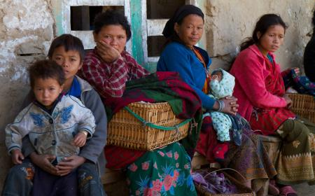 Tamang women and children waiting to meet with healthcare providers.